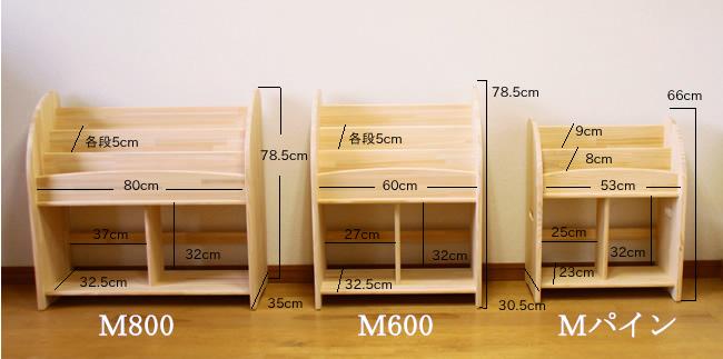木遊舎の絵本たて サイズ比較