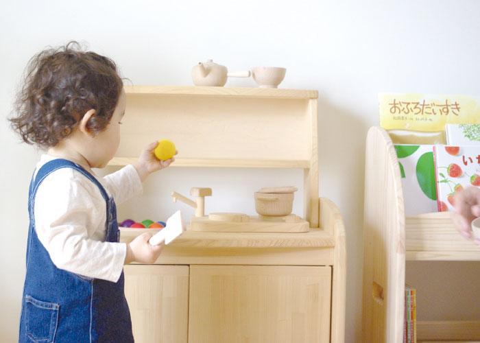 木遊舎 ひのきキッチンテーブルフルセット 子ども家具